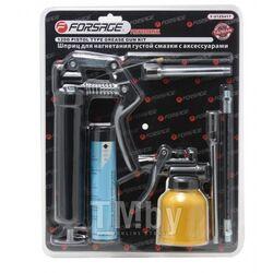 Шприц для нагнетания густой смазки с жестким и гибким наконечниками в комплекте с тубой и масленкой 120гр., в блистере Forsage F-01Z0417