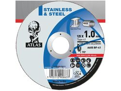Круг отрезной 125х1.6x22.2 мм для металла ATLAS NORTON (A46S-T41 металл/нержавейка)