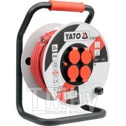 Удлинитель электрический на катушке 30м 4 розетки c крышками IP44 с предохранителем (16A, 230V-50Hz, кабель H05RR-F 3х2.5мм. кв.) Yato YT-8106