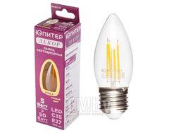 Лампа светодиодная C35 СВЕЧА 5 Вт 220-240В E27 2700К ЮПИТЕР ДЕКОР (филаментная лампа, аналог лампы накал. 50Вт, теплый свет)