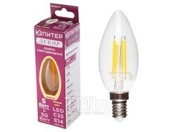 Лампа светодиодная C35 СВЕЧА 5 Вт 220-240В E14 2700К ЮПИТЕР ДЕКОР (филаментная лампа, аналог лампы накал. 50Вт, теплый свет)