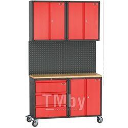 Комплект металлической гаражной мебели 7 пр. 460х2180х1330мм (шкаф навесной двухстворчатый 1 полка: 300х660х760-2шт; шкаф напольный двухстворчатый 1 Rock FORCE RF-01Y0303