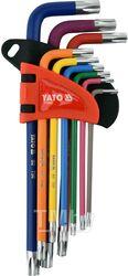 Ключи TORX с отверстием T10-T50 удл. разноцветные S2 (набор 9шт.) Yato YT-05633