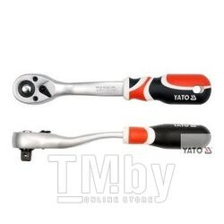 "Трещотка изогнутая пластиковая ручка 1/4"" T72 L155мм Yato YT-0730"