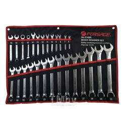 Набор ключей комбинированных 27пр.(6-28,30,32мм+ключи трещоточные 10,13мм) на полотне Forsage F-5149R
